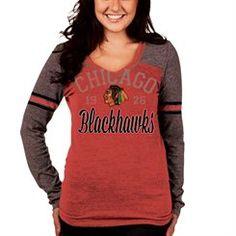 New Era Chicago Blackhawks Women's Red Fitted V-Neck Tri-Blend Long Sleeve T-Shirt