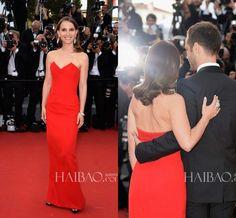 2015 Natalie Portman Celebrity Dresses the 68th Cannes Film Festival Sweetheart Backless Slit Floor Length Red Carpet Formal Prom Dress