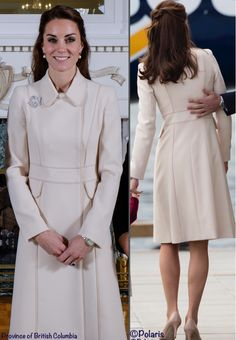 The coat has a modified princess silhouette, an inserted waistband, off-center front closure, front flap pockets and a hidden placket. The collar, pockets and seams are all accentuated by trim in a slightly darker hue than the coat fabric.