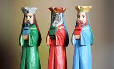 Tres Reyes Magos en madera