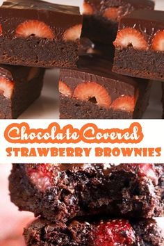 CHOCOLATE COVERED STRAWBERRY BROWNIES Chocolate and strawberries go together perfectly. This brownie contains fresh and ripe strawberries and rich chocolate brownies. Decadent ganache chocolate brings them together. Strawberry Brownies, Chocolate Covered Strawberries, Easy Christmas Cookie Recipes, Christmas Appetizers, Health Dinner, Keto Dinner, Seafood Dishes, Pasta Dishes, Leftover Steak Recipes