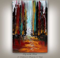 Large Painting CITYSCAPE ABSTRACT PAINTING by ContemporaryArtDaily