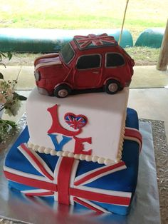 Mini Cooper British Flag Cake my 50 th birthday cake please British Cake, British Party, Cupcakes, Cupcake Cakes, Mini Cooper Cake, Beautiful Cakes, Amazing Cakes, Union Jack Cake, Flag Cake