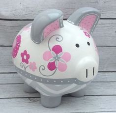 Owls, Birds and Chevron Personalized Piggy Bank in Hot Pink and Grey Hand Painted Ceramics, Porcelain Ceramics, The Little Couple, Personalized Piggy Bank, Cute Piggies, Plate Art, Pottery Designs, Pottery Painting, Craft Fairs
