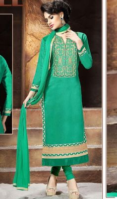 Surround yourself with endless compliments with this churidar suit in green color embroidered chanderi silk. The beautiful lace and resham work throughout the attire is awe-inspiring. #silkembroidereddress #longchuridarsuit #straightsilkdresses