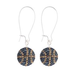 Handcrafted London Blue-Champagne (Navy Blue-Light Gold) Basketball Earrings with Silver Wire, Item E-BB16, Price:  $35.99, © GameDay Fusion