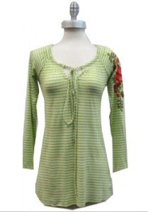 Caite Green Stripe Floral Top available at Ear Abstracts Boutique (714)996-3505 We ship!