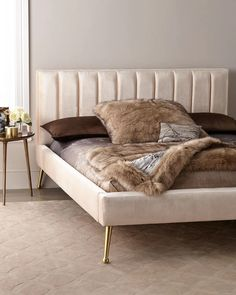 Shop DeAngelo California King Platform Bed with Metal Legs at Horchow, where you'll find new lower shipping on hundreds of home furnishings and gifts. California King Canopy Bed, California King Platform Bed, King Platform Bed Frame, Platform Beds, Cama King, Bed Legs, Tufted Bed, Headboards For Beds, Bed With No Headboard