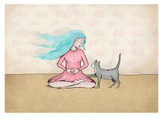 Zazen - (meditation) by Ella Goodwin https://www.etsy.com/listing/189021570/cat-artwork-zen-buddhism-zazen?ref=shop_home_active_1