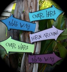 Alice in Wonderland/Mad Hatter party signs...the BLUEs. $18.50, via Etsy.