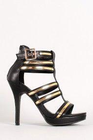 Metallic Strappy Open Toe Heel