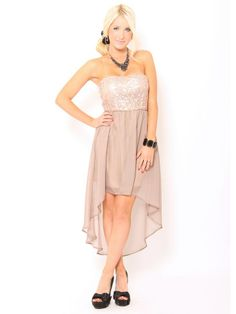Sequin Chiffon High Low #Dress