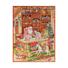 Santa's Workshop Vintage-Style Advent Calendar ~ Features Santa in his workshop. Silver glitter accents.  BIG GRAY CAT IS SANTA'S HELPER.  Made in Germany by a company making traditional calendars since 1946.