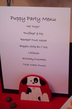 "Puppy Party Menu:  ""Toilet Water"" punch!"