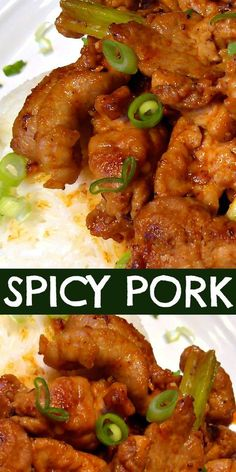 Korean style spicy pork with sriracha ginger garlic and onions. Amazing served over rice Korean style spicy pork with sriracha ginger garlic and onions. Amazing served over rice Pork Tenderloin Recipes, Pork Chop Recipes, Meat Recipes, Asian Recipes, Cooking Recipes, Healthy Recipes, Spicy Recipes, Amazing Food Recipes, Recipies