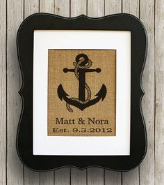 Burlap Personalized Nautical Wedding Gift -  Anchor Print - Beach Wedding - Nautical Print on Etsy, $20.00