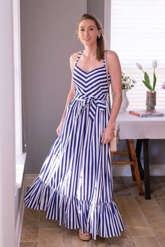 Daily Look: Navy and white striped maxi dress with flatform espadrilles and floral embellished crossbody Cute Girl Dresses, Casual Dresses, African Fashion Dresses, Fashion Outfits, Latest Outfits, Monsoon Fashion, Stripped Maxi Dresses, Frock Patterns, Evening Dresses