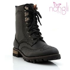 Wing-Tip Lace-Up Boots $44
