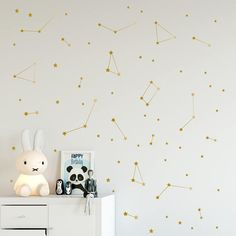 Constellation wall decal, Zodiac, Astronomy stickers, Gold star wall decals, Astronomy decor, Kids bedroom decor, Outer space nursery  #138