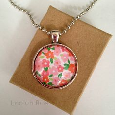 Floral Fun Glass Dome Pendant Necklace by LooluhRue, $9.99 #floral #flowers #flowernecklace