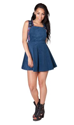 Blue slightly stretchy cord skater style dungaree dress. #dungareedress #dungareesonline