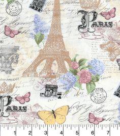 Buttercream Cosette Cotton Fabric-Paris Life Metallicnull