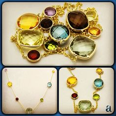 #spring has #sprung! #gorgeous #faceted #gemstone #necklace. #checkerboard #cut #gems #handset into #rich #yellow #gold. #100 #percent #real #14k #handmade #jewelry.  #amazinite -  #affordable #luxury.  http://stores.ebay.com/amazinite