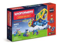 Create futuristic airplanes and space rockets with the MAGFORMERS® Transform set. Use 9 different geometric shapes to transform your ideas into life! Use accessories to clip in propellers and satellites and watch your 3D builds fly!