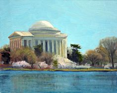 """Afternoon Light Jefferson Memorial"", an 8"" x 10"" oil on linen painted this week by Armand Cabrera"