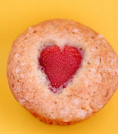 Meyer Lemon Muffins--yum!  (Can cut a strawberry into a heart shape and put on any type of muffin--cute!)