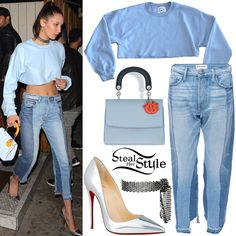 Bella Hadid was spotted leaving The Nice Guy on Tuesday wearing a Danielle Guizio Dg Sweatcrop ($49.50), Frame Denim Nouveau Le Mix Jeans ($449.00), a Fallon Monarch Mesh Fishnet Sash Choker ($190.00), a Dior Diorissimo Mini Flap Bag (Not available online) and Christian Louboutin So Kate Metallic Pumps ($695.00 – wrong color). You can find similar pumps for less at ASOS ($41.00).