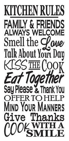 Primitive Kitchen STENCIL Kitchen Rules Large by OaklandStencil