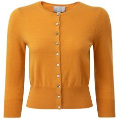 Pure Collection Sawyer Cropped Cardigan, Marigold ($130) ❤ liked on Polyvore featuring tops, cardigans, cropped cardigan, cropped tops, three quarter sleeve cardigan, 3/4 length sleeve tops and plus size 3/4 sleeve cardigan