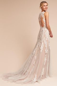 Wedding Dresses Ball Gown, Delicate Tulle V-neck Neckline Natural Waistline Sheath/Column Wedding Dress With Lace Appliques MagBridal Beige Wedding Dress, Bhldn Wedding Dress, How To Dress For A Wedding, Western Wedding Dresses, Used Wedding Dresses, Perfect Wedding Dress, Bridal Dresses, Bridal Gown, Champagne Wedding Dresses