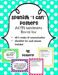 ACTFL benchmarks - 45 posters for novice low. My principal will love seeing these in my room! Spanish Lessons For Kids, Spanish Teaching Resources, Spanish Lesson Plans, French Lessons, Spanish Activities, Teacher Resources, French Language Learning, Dual Language, Foreign Language