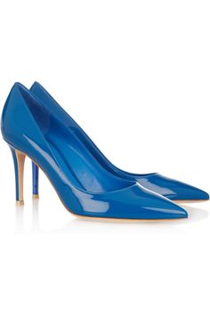 Gianvito Rossi | Vertan patent-leather pumps  | NET-A-PORTER.COM ~a more understated yet still vivd blue