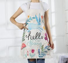 Rabbit Kitchen Apron Handmade - by Material - linen Condition - brand new with tagInspired by nature and life Unique design Christmas Deals, Kitchen Aprons, Hello Spring, Adult Children, Cotton Linen, Valentine Gifts, Rabbit, Cartoon, Unique