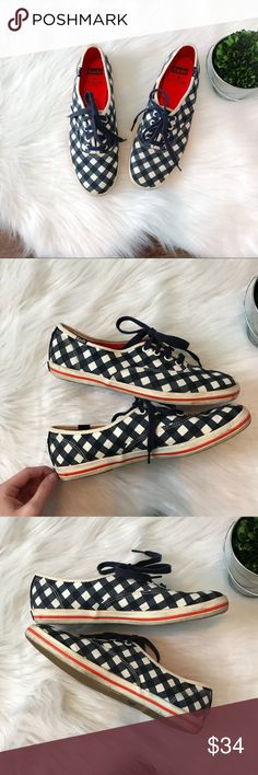 Kate Spade Keds in Navy Gingham GUC size 8 Kate spade for Keds in gingham. GUC. Just a little dirty. Adds that special pop to any outfit. Feel free to ask questions or make an offer! Keds Shoes Sneakers