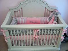 Pink and gray damask custom made nursery crib bedding by https://www.facebook.com/poshpetitesboutique  #poshpetitesboutique