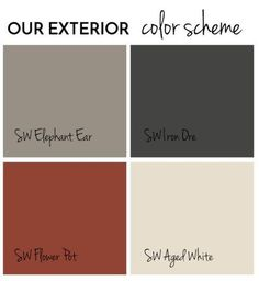 Exterior Paint Final Reveal - Jolly Little Times Exterior color scheme Sherwin Williams SW Iron Ore, Elephant Ear, Flower Pot, Aged White. Shutters, soffits, fascia, trim, front door, aluminum siding. Exterior paint scheme, grey, black, red, offwhite, brick, red roof
