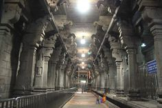 The interiors of the Sri Kalahasti temple, a brilliant specimen of Dravidian architecture.