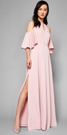 TIE THE KNOT: Perfect for wedding guests and bridesmaids alike, Ted's cut-out shoulder maxi dress brings elegance to a special occasion. #WedWithTed