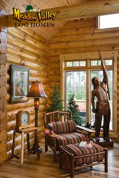Great Room Inside A Meadow Valley Log Home
