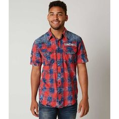 Affliction Black Premium Staple Shirt ($78) ❤ liked on Polyvore featuring men's fashion, men's clothing, men's shirts, men's casual shirts, mens tartan shirt, affliction mens shirts, mens button front shirts and mens plaid shirts