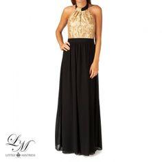 Women's Little Mistress Heavily Embellished Chiffon Halterneck Maxi Dress - Gold/Black