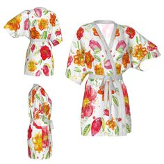 Kimono robe,floral robe,watercolor,wild flower robe,summer flowers robe,Bridesmaid robe,getting ready robes,Bridesmaids gift,Bridal Robe by OkopipiDesign on Etsy