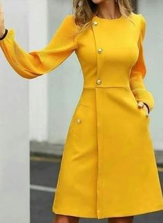 General Yellow X-line Dress Day Dresses Elegant Polyester Round Neckline Long Sleeve Fall S Winter M Knee-Length L XL XXL Buttons Solid Dress color:Yellow Cute Formal Dresses, Fall Dresses, Elegant Dresses, Casual Dresses, Dresses For Work, Summer Dresses, Floryday Dresses, Formal Knee Length Dresses, Wedding Dresses