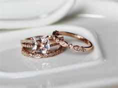 Three Rings--8x8mm Halo Morganite Ring 14K Rose Gold Pave Diamonds Wedding Ring /Engagement Ring/ Promise Ring/ Anniversary Ring/ Fine Ring by ByLaris on Etsy https://www.etsy.com/listing/219797159/three-rings-8x8mm-halo-morganite-ring