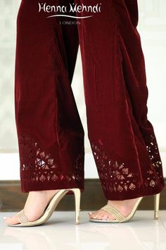 Velvet trousers with cut work. Available in trousers or boot cut trousers. Can be ordered in a range of colours. Please note these are trousers only. Please not