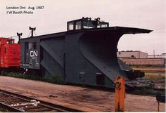 CN Snow Plow at London Ont. Aug now that's a plow Homer would be proud of Electric Locomotive, Steam Locomotive, Logging Equipment, Rail Transport, Old Trains, Train Pictures, Snow Plow, Rolling Stock, Train Tracks